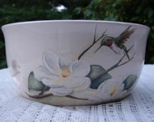 Hummingbirds & Magnolia! Large Ceramic Yarn Bowl / Yarn Holder