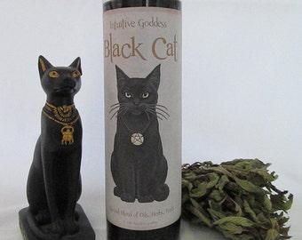 Goddess Bast / Black Cat Candle - Good Luck, Prosperity, Abundance, Protection