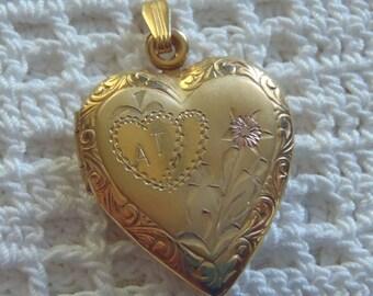 Vintage Heart Locket Photo Holder Gold Filled Monogrammed
