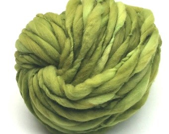 Super bulky hand spun yarn, 50 yards and 3.1 ounces/91 grams, spun thick and thin in merino wool