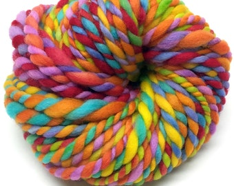 Super bulky rainbow yarn, handspun in hand painted and hand dyed wool - 25 yards, 1.75 ounces, 50 grams