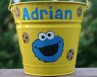 Personalized bucket with Cookie monster and cookies great as a toy, baby shower, Halloween or Easter pail