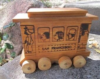 Vintage 1977 Toystalgia Wood San Francisco Cable Car Street Trolley Car Coin Bank ~
