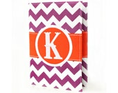 Purple Chevron Personalized Journal - You select, fabric, frame, and font - Monogrammed sketchbook - Personalized gift - Lined journal