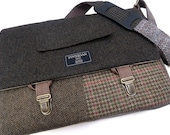 "Laptop bag, 13"" Macbook pro Messenger bag Macbook,Laptop Sleeve, Vintage, Wool, Trunk Latch,Recycled Suit Coat, Finnigan Bag"