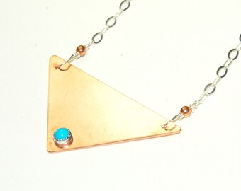 Triangle Necklace - Mixed Metal Jewelry - Genuine Turquoise - Copper Triangle - Modern