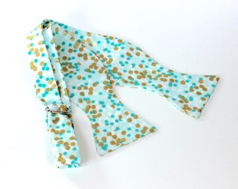 Mint Green Men's Bow Tie with Gold Dots - Freestyle Butterfly or Diamond Point Bowtie - Adjustable