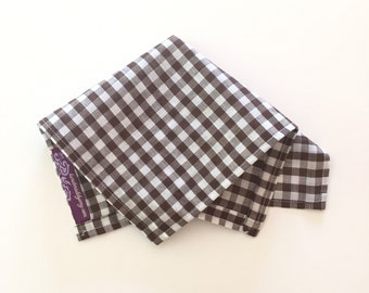 Brown Gingham Pocket Square - Chocolate Brown & White Checkered Hankerchief brown and white pocket square Mens Pocket Squares embroidered