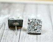 Silver Druzy Earrings, Sparkly Galaxy Earrings Crystal Earrings, Metallic Silver Square Druzy Studs Geometric Posts, Square Stud Earrings