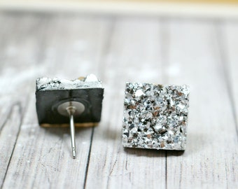 Silver Druzy Earrings, Sparkly Galaxy Earrings Crystal Earrings, Metallic Silver Square Druzy Studs Geometric Posts, Square Stud Earrings