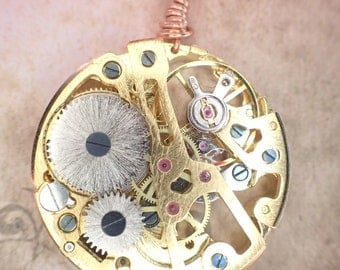 Mechanical Steampunk Clockwork gears necklace Brass gearbox necklace watch movement skeletonized frame with gears!