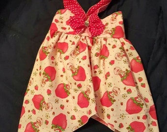 Custom Made OOAK Strawberry Shortcake with Red Dots Halter Sundress