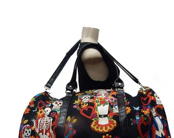 "USA Handmade Large Duffle bag shoulder bag Sports Bag Style ""Tree of lifes"" Rockabilly Halloween Pattern HandBag Purse,  Cotton, New"