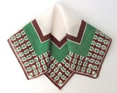 Handkerchief Green and Brown Small Vintage