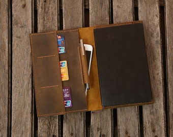 Distressed Leather cover portfolio for Larger size moleskine classic notebook / Larger moleskine leather cover case - MK05MB