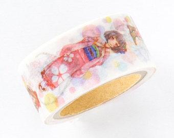 Limited Edition Japanese Washi Masking Tape - Kimono Japanese Girls