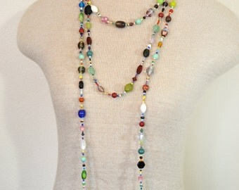 "Beaded NECKLACE - Long 22"" (44"") Multiple Primary Colors Blue Green Red Aqua Orange Seed Bead Glass Bead - Goes with Everything Necklace 45"