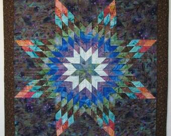 "Batik Star Quilt - 32""x32"" Wallhanging - Green, Blue, Rose, Violet and White. Diamond Star Geometric Design Machine Made Quilt"