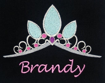 Disney's Tangled inspired t-shirt w embroidered Rapunzel Tiara and personalized w your name - original artwork - perfect for Disney fans