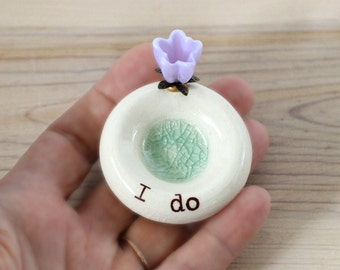 I do flower Engagement ring holder, blue glaze, ceramic wedding ring bowl, bridal, proposal