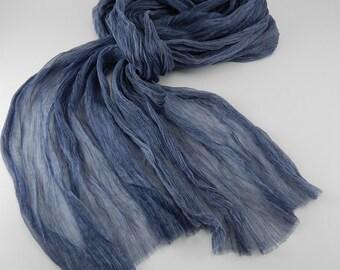 Handmade Silk Scarf / Melange --- Jean Blue