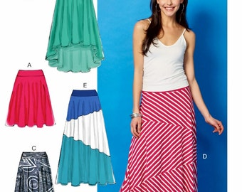 Knit Fabric Skirt Pattern, Long Skirt Pattern,  High Low Skirt Pattern, McCall's Sewing Pattern 6966
