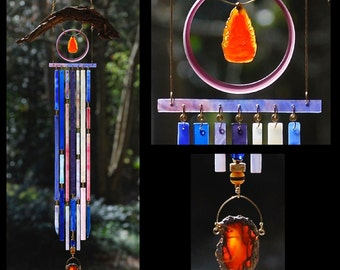 Wind Chimes Recycled Beach Glass Sea Glass Suncatcher Driftwood Windchimes Stained Glass Sun Catcher - Kuan Yin - The Buddhist Madonna