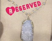RESERVED- g  l  i  m  m  e  r.... labradorite and gold rimmed white druzy necklace