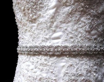 Leah Bridal Dress Gown Beaded Jeweled Crystal Sash Belt