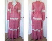 Vintage 70s corset hippie, festival, gypsy, maxi dress