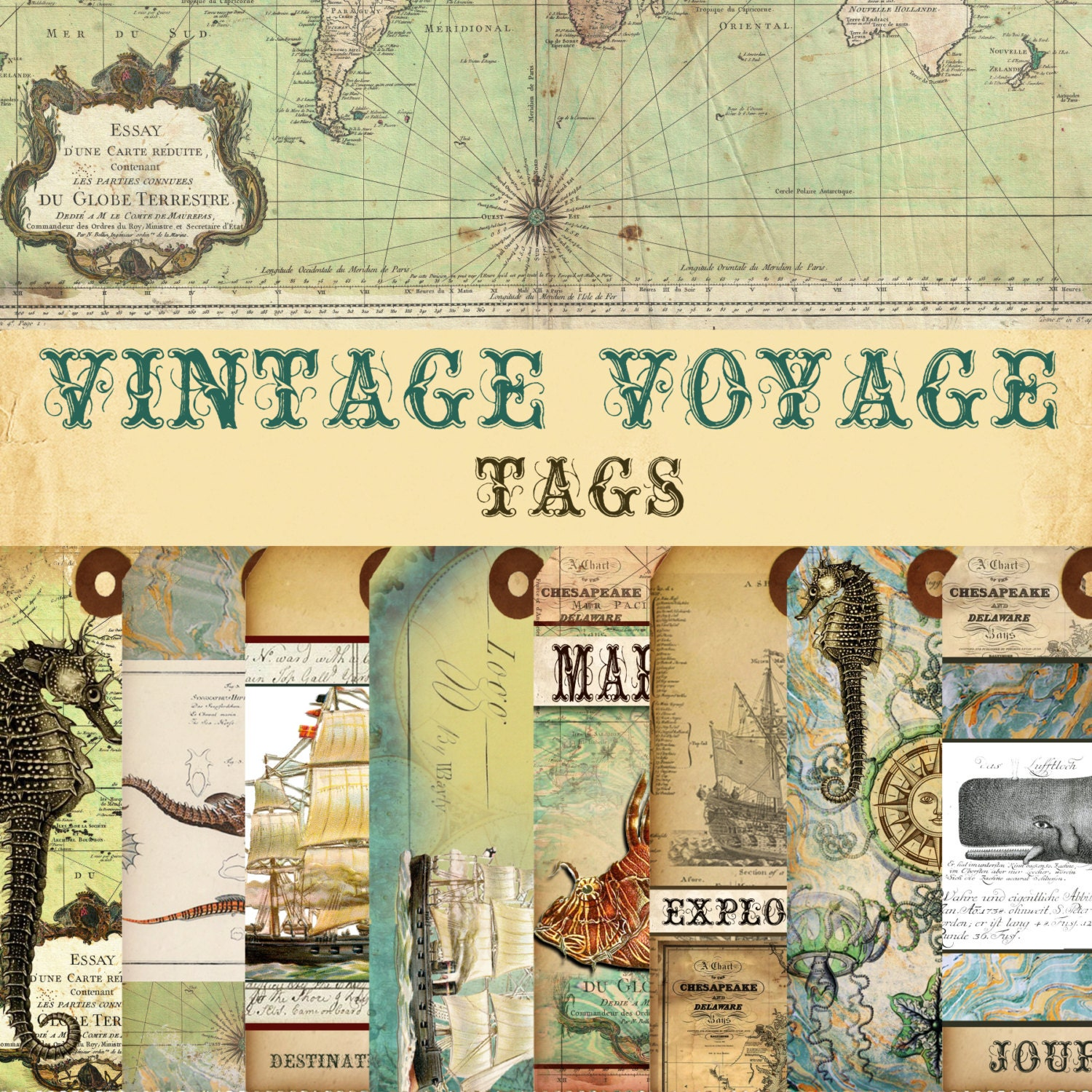 "NEW! Digital Paper ""Vintage Voyage"" - Tags - 15 Designs ..."