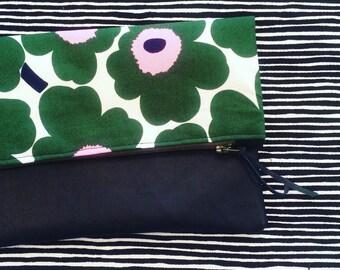 Fold Over Clutch Bag Marimekko mini Unikko Fabric , purse, coin purse, zip bag
