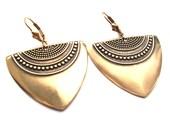 Shiny Antique Gold Art Deco Earrings, Statement Earrings, Gold Earrings, Geometric Earrings, Ethnic Earrings, Boho Earrings