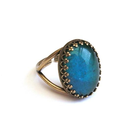 antique bronze mood ring vintage glass mood ring