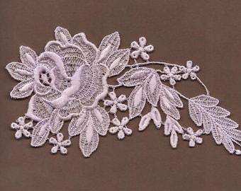 Hand dyed Venise Lace Applique Bridal Rose Vintage Lavender