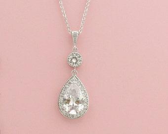 Wedding Necklace Crystal Bridal Necklace Large Cubic Zirconia Teardrop Silver Pendant Bridesmaid Necklace Wedding Jewelry, Evana