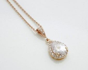 Rose Gold Pendant Necklace Wedding Necklace Bridal Jewelry Rose Gold Cubic Zirconia Teardrop Pink Gold Wedding Jewelry, Emma