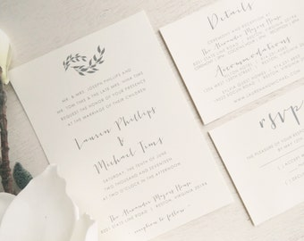 Wedding Invitation Suite - Style INV03 - LEAVES COLLECTION | Invitation | RSVP Card | Details Card Printable