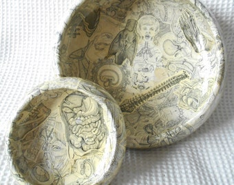 2 Bowls Black and White Anatomy Decoupage Large and Small