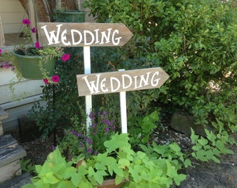 Set of 2 Elegant Rustic Modern Wedding Directional White Stake Signs Western Country With Arrow Ready to Ship