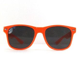 vintage 90s deadstock sunglasses wayfarer neon orange bright plastic frame sun glasses eyewear fashion unisex simple classic dark black 55