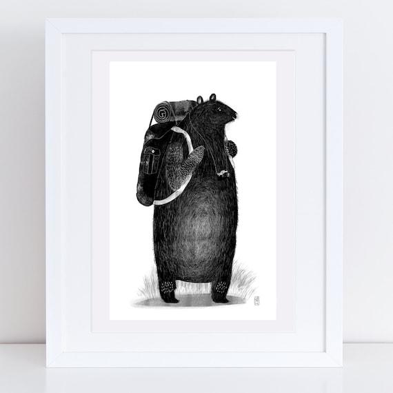 Backpack Bear - Signed print