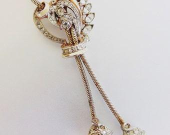 Gorgeous Vintage 1940's Rhinestone Lariat Necklace