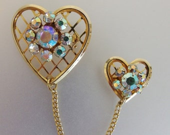 ON SALE Nice Vintage Aurora Borealis Double Heart Brooch Pin