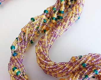 Beautiful Vintage Multi Strand Glass Bead Necklace