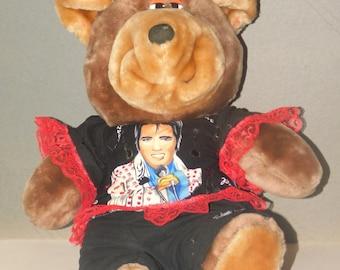 Elvis Teddy Bear/Stuffed Animal with Elvis motif/Elvis Presley bear/Rock and Roll/Fifties Music/Rock Star