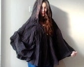 Brown hooded poncho, Recycled upcycled clothing, Full Size Hooded Poncho , Circle Cape Hoodie