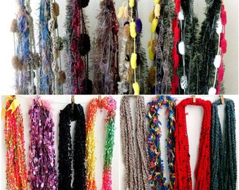 Crochet infinity scarf necklaces mixed fiber fluff scarf chain necklaces infinity scarf Ladder scarf necklace winter fashion accessories