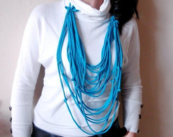 White T-shirt Scarf, Blue tshirt necklace scarf, layered fabric scarf necklace, multistrands necklace with small fabric flowers