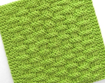 Knit Dishcloth, Cotton Washcloth, Hand Knit Dishcloth, Basketweave Kitchen Cloth, Lime Green Kitchen Decor